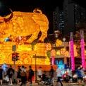 """<p class=""""Normal""""> Mô hình trâu rực sáng tại một ngã tư ở khu Chinatown, Singapore. Ảnh: <em>Reuters</em>.</p>"""