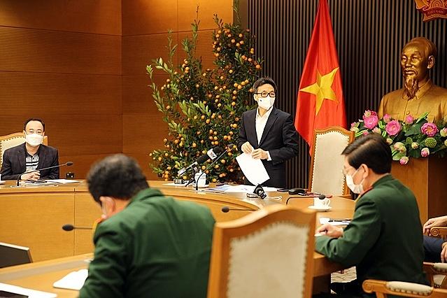 Thường trực Ban Chỉ đạo quốc gia phòng chống dịch Covid-19 họp dưới sự chủ trì của Phó thủ tướng Vũ Đức Đam (Trưởng Ban Chỉ đạo). Ảnh: VGP.