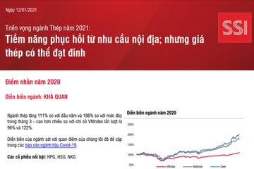 SSI Research: Triển vọng ngành thép năm 2021 - Tiềm năng phục hồi từ nhu cầu nội địa; nhưng giá thép có thể đạt đỉnh