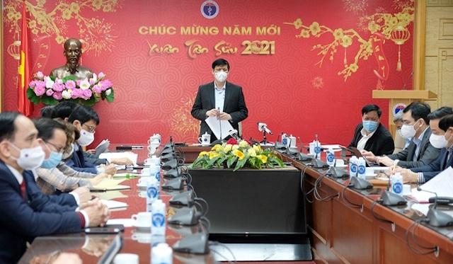Bộ trưởng Y tế Nguyễn Thanh Long chủ trì họp giao ban trực tuyến về công tác phòng, chống dịch Covid-19 sáng nay (19/2).