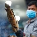 <p> Cá lóc tươi được mua từ chợ đầu mối Bình Điền và nướng trong khoảng 30 phút. Cá chín sẽ được cạo lớp vỏ cháy bên ngoài.</p>