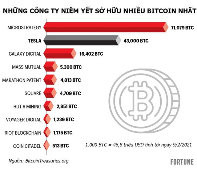 Những công ty niêm yết nào đang sở hữu Bitcoin.