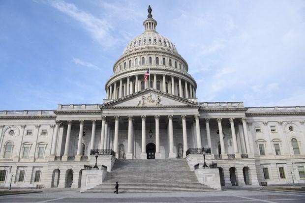 Quang cảnh tòa nhà Quốc hội Mỹ ở Washington DC., ngày 9/2/2021. (Ảnh: AFP/TTXVN)
