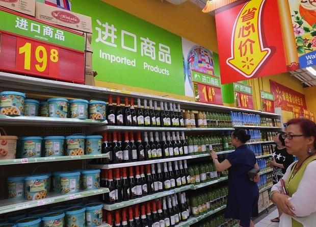 Một quầy hàng nhập khẩu trong siêu thị ở Trung Quốc. (Ảnh: VCG)
