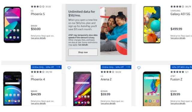 Bên cạnh những sản phẩm của Samsung hay LG, AT&T còn bán những mẫu máy mang thương hiệu của mình ở gian hàng điện thoại trả trước.
