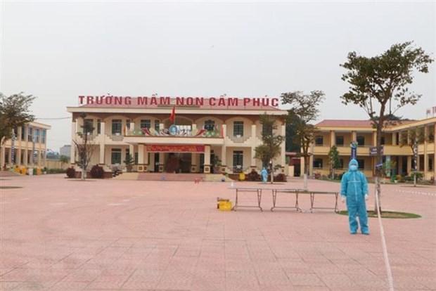 Khu cách ly tập trung Trường Mầm non Cẩm Phúc (huyện Cẩm Giàng). (Ảnh: Mạnh Minh/TTXVN)