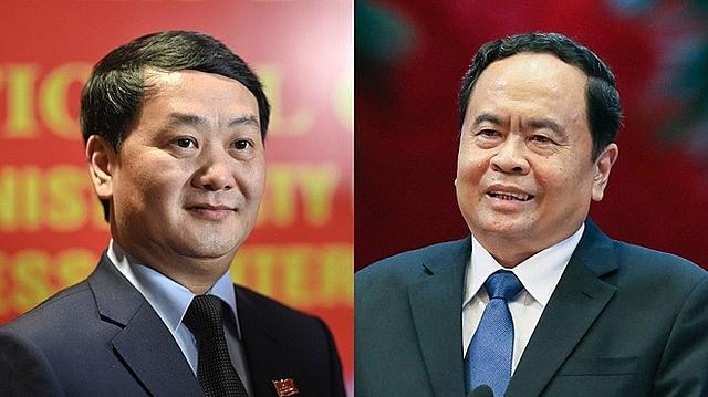 Ủy viên Bộ Chính trị Trần Thanh Mẫn (phải) và Ủy viên Trung ương Đảng Hầu A Lềnh là hai lãnh đạo Ủy ban Trung ương MTTQ Việt Nam được tín nhiệm giới thiệu ứng cử đại biểu Quốc hội khóa XV. Ảnh: Thuận Thắng - Hải Quân.