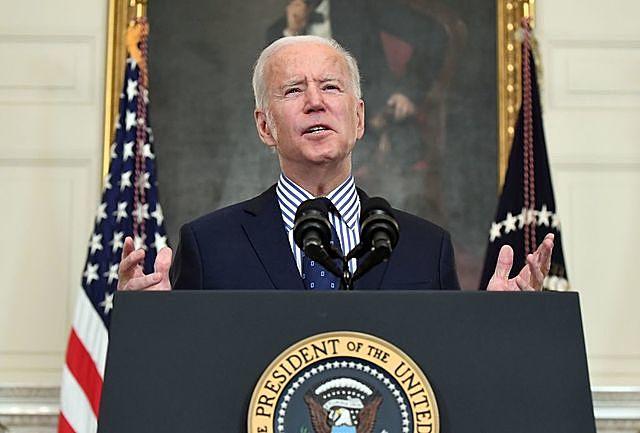 Tổng thống Joe Biden phát biểu tại Washington, DC, Mỹ, ngày 6/3/2021. Ảnh: AFP/TTXVN