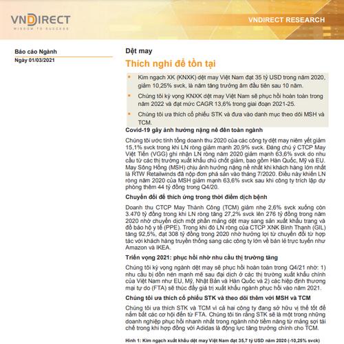 VNDirect: Báo cáo ngành dệt may - Thích nghi để tồn tại