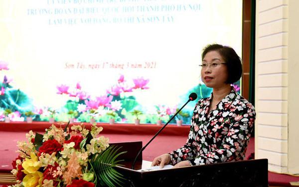 Hà Nội: Đề xuất tái lập thành phố Sơn Tây  Bí thư Thị uỷ Sơn Tây Phạm Thị Thanh Mai báo cáo tại cuộc làm việc