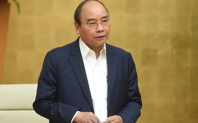 Thủ tướng Nguyễn Xuân Phúc phát biểu tại buổi họp trực tuyến.