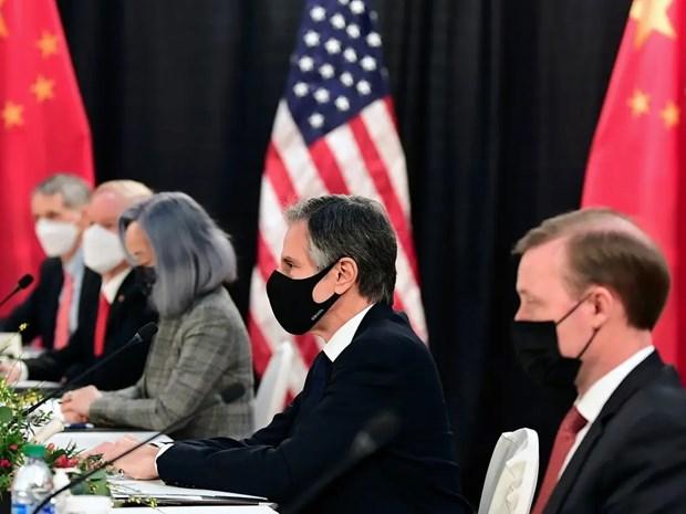 Phái đoàn Trung Quốc tham dự đối thoại cấp cao Mỹ-Trung Quốc tại Alaska (Mỹ), ngày 18/3/2021. (Ảnh: AFP)