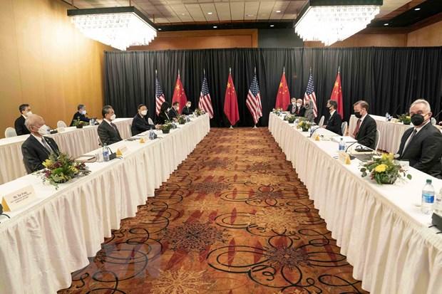 Quang cảnh cuộc đối thoại cấp cao Mỹ-Trung Quốc tại Alaska (Mỹ), ngày 18/3/2021. (Ảnh: THX/TTXVN)