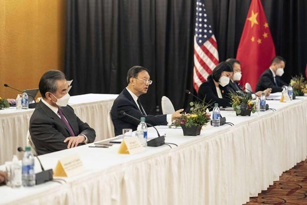 Phái đoàn Trung Quốc tham dự đối thoại cấp cao Mỹ-Trung Quốc tại Alaska (Mỹ), ngày 18/3/2021. (Ảnh: THX/TTXVN)