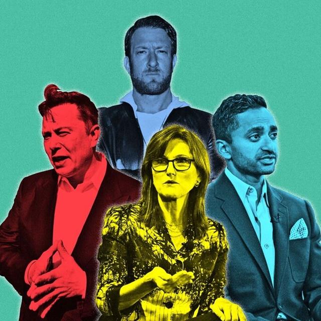 """Những """"ngôi sao đầu tư"""" mới, gồm Elon Musk, Cathie Wood, David Portnoy và Chamath Palihapitiya. Ảnh: WSJ."""