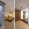 """<p class=""""Normal""""> Giải pháp này giúp kiến trúc sư điều chỉnh lối đi dẫn tới sảnh chính của ngôi nhà, cắt bớt một số mái che cho ánh sáng cầu thang, nâng cao mái sau để làm các phòng sinh hoạt (phòng thờ, phòng giặt, phòng giải trí cho trẻ em) thuận tiện và thú vị nhất có thể.</p>"""