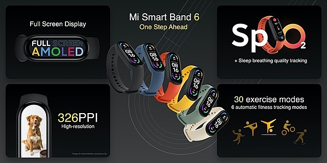 Mi Smart Band 6 có màn hình lớn hơn khoảng 50% so với Smart Band 5. Ảnh: Xioami.
