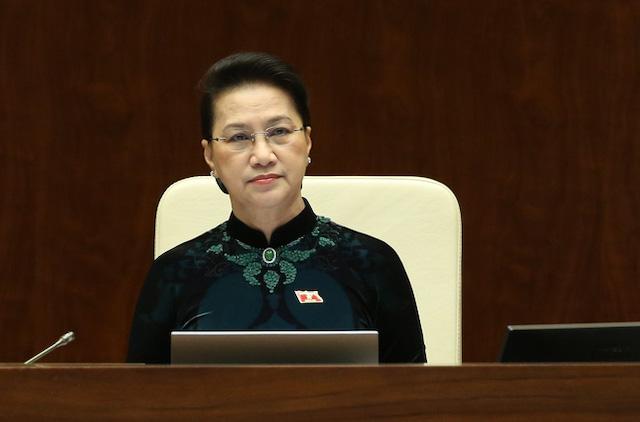 Chủ tịch Quốc hội Nguyễn Thị Kim Ngân tại phiên họp sáng 30/3.