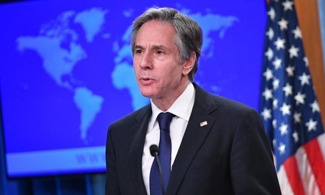 Ngoại trưởng Blinken phát biểu tại Bộ Ngoại giao Mỹ hôm 30/3. Ảnh: AFP.