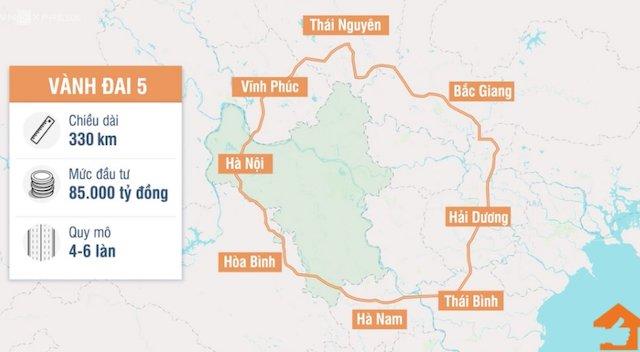 Thay đổi tuyến hướng dự án vành đai 5, vùng Thủ đô Hà Nội