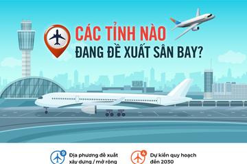 Các tỉnh nào đang đề xuất sân bay?