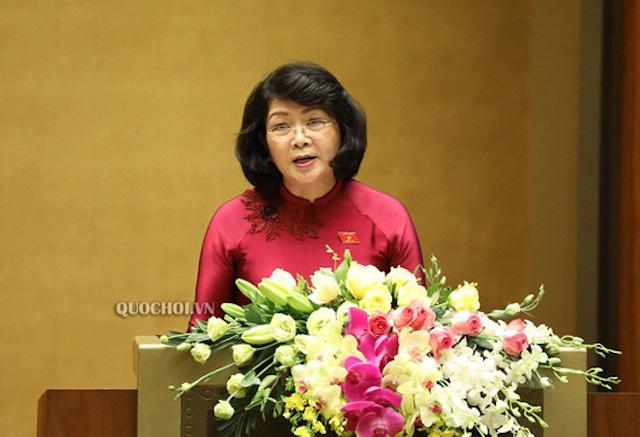 Phó Chủ tịch nước Đặng Thị Ngọc Thịnh. Ảnh: Quốc hội.
