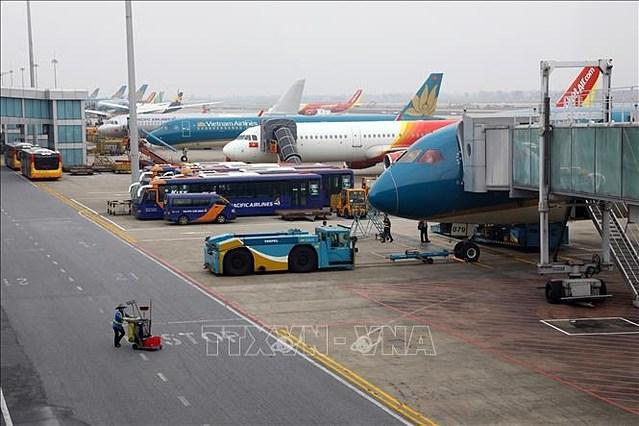 Máy bay tại Cảng Hàng không Quốc tế Nội Bài. Ảnh: Huy Hùng/TTXVN.