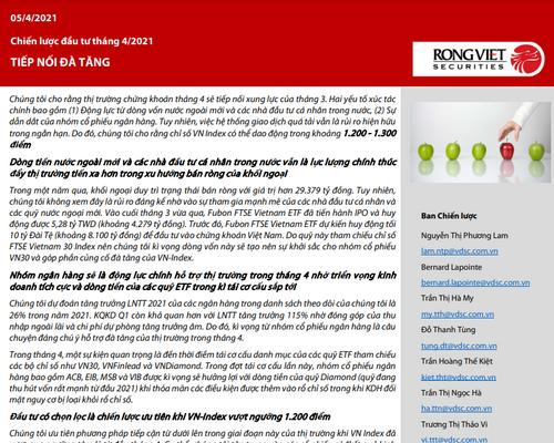 VDSC: Báo cáo chiến lược tháng 4 - Tiếp nối đà tăng