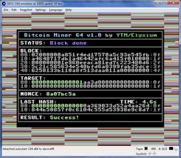 Tỷ lệ băm (hash rate) của Commodore 64 là 0,2 H/s. Ảnh: Decrypt.