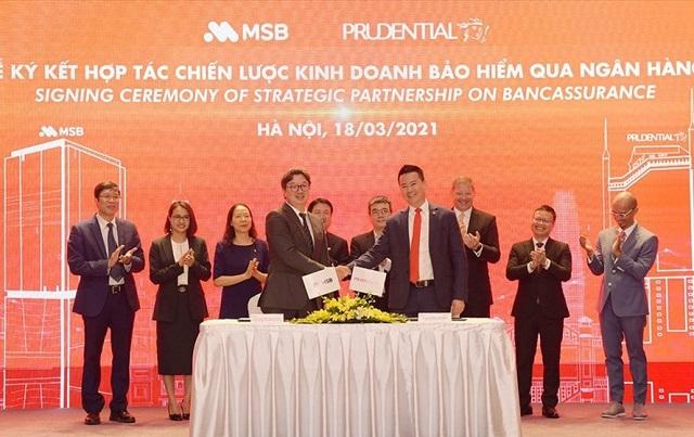 Buổi ký hợp tác độc quyền bancassurance giữa MSB và Prudential Việt Nam. Ảnh: MSB