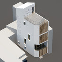 <p> Nhà được xây cao, có độ lùi về phía sau. Tấm bình phong gỗ dọc ngăn tầm nhìn trực tiếp vào nhà. Ánh sáng có thể đến từng phòng trong nhà.</p>