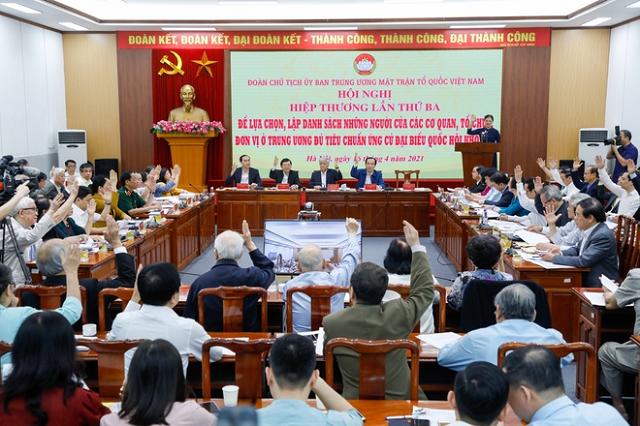 100% đại biểu nhất trí thông qua danh sách 205 người ở Trung ương được giới thiệu ứng cử đại biểu Quốc hội khóa XV.