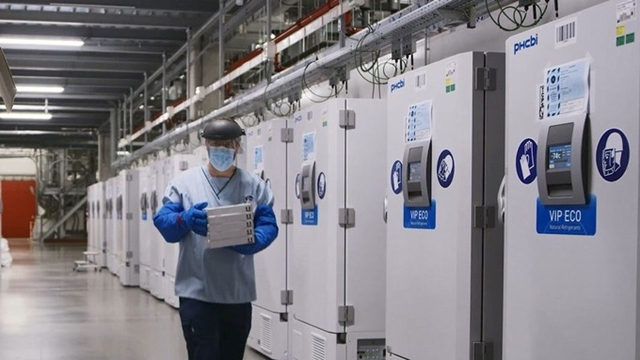 Các tủ đông đặc biệt chứa vaccine Covid-19 tại một cơ sở của Pfizer ở Bỉ. Ảnh: Reuters.