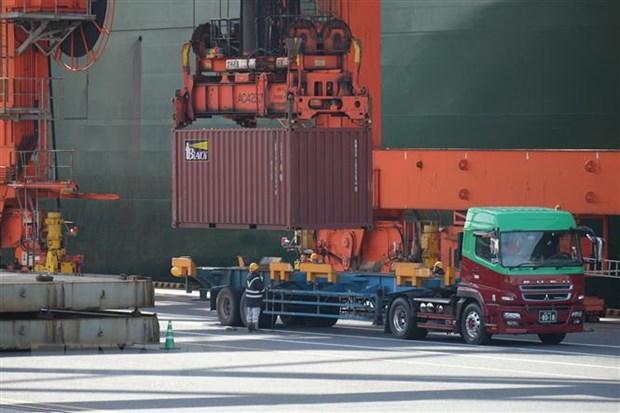 Bốc dỡ container hàng hóa tại cảng ở Tokyo, Nhật Bản. (Ảnh: AFP/TTXVN)