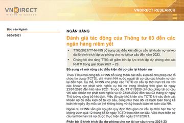 VNDirect: Đánh giá tác động của Thông tư 03 đến các ngân hàng niêm yết