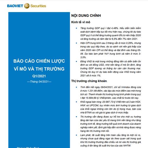 BVSC: Báo cáo chiến lược quý I/2021