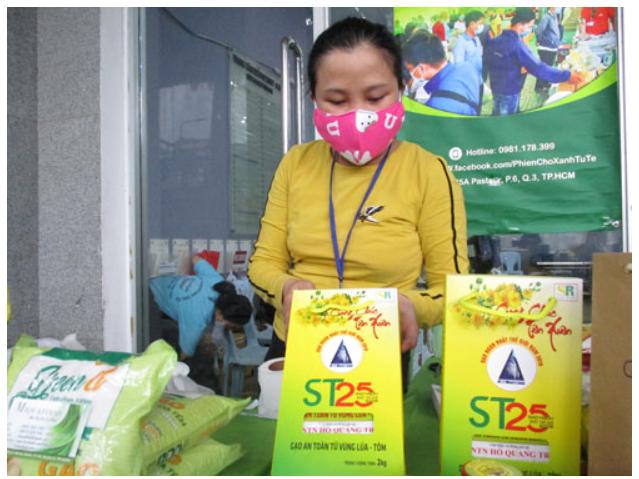 Gạo ST25 của DNTN Hồ Quang Trí bán tại TP HCM. Ảnh: Người lao động