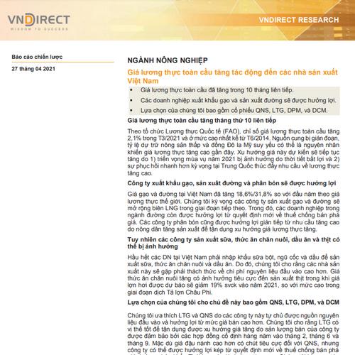 VNDirect: Báo cáo ngành nông nghiệp - Giá lương thực toàn cầu tăng tác động đến các nhà sản xuất