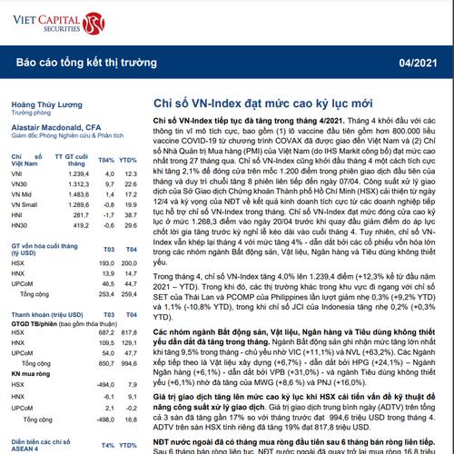 VCSC: Báo cáo tổng kết thị trường tháng 4/2021