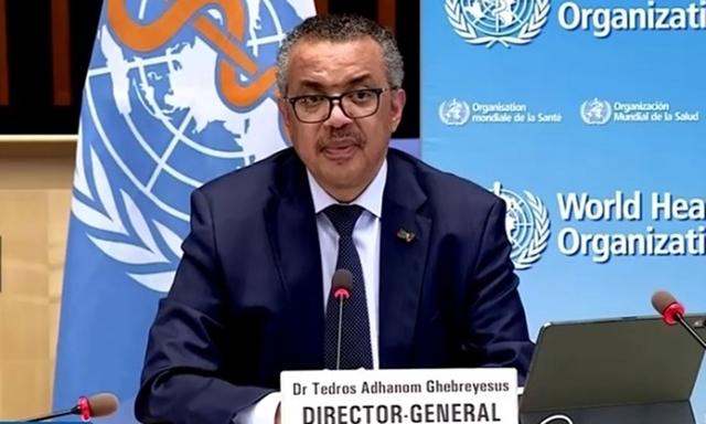 Tổng giám đốc WHO Tedros Adhanom Ghebreyesus họ báo tại trụ sở ở Geneva, Thụy Sĩ hôm 10/5. Ảnh: Reuters.