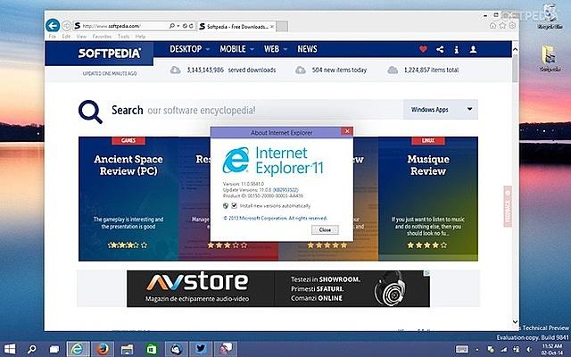 Trình duyệt Internet Explorer 11 trên Windows 10 sẽ dừng hoạt động từ tháng 6/2022. Ảnh: Softpedia.
