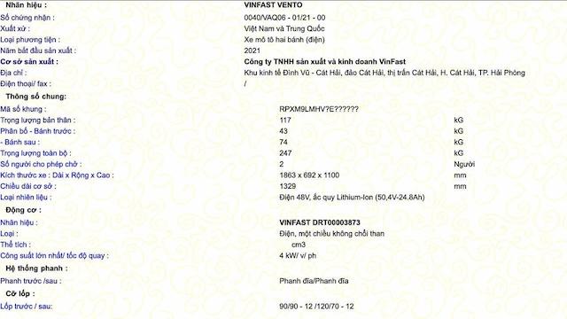 VinFast Vento đã được Cục Đăng kiểm Việt Nam cấp giấy chứng nhận chất lượng.