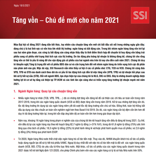 SSI Research: Tăng vốn - Chủ đề mới cho năm 2021