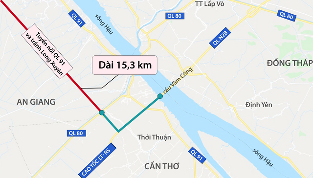 Đường nối An Giang - Cần Thơ hơn 2.100 tỷ đồng sắp khởi công
