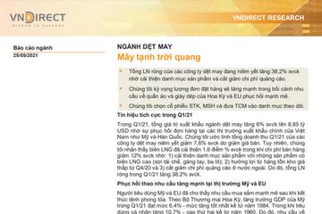 VNDirect: Báo cáo ngành dệt may - Mây tạnh trời quang