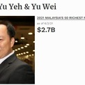 """<p class=""""Normal""""> <strong>10. Tan Yu Yeh &amp; Yu Wei</strong></p> <p class=""""Normal""""> Tài sản: 2,7 tỷ USD</p> <p class=""""Normal""""> Tan Yu Yeh và Yu Wei trở nên giàu có nhờ cổ phần của họ tại Mr D.I.Y. Group, một chuỗi cửa hàng bán lẻ đồ gia dụng, được thành lập vào năm 2005. Công ty được niêm yết trên sàn chứng khoán Malaysia vào tháng 10 năm ngoái, đưa cả hai trở thành tỷ phú. (<em>Ảnh chụp màn hình</em>)</p>"""