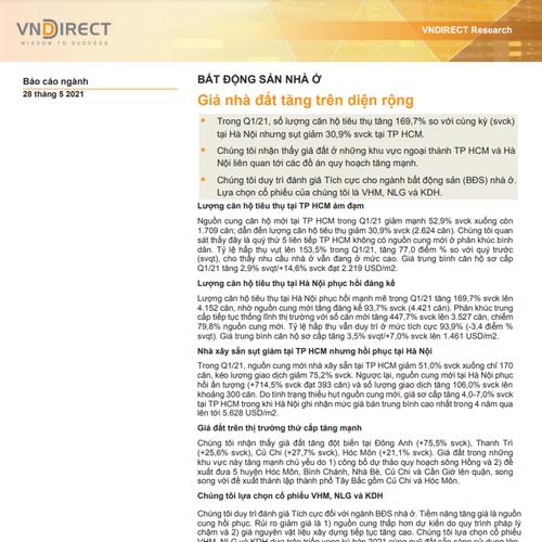 VNDirect: Ngành bất động sản - Giá nhà đất tăng trên diện rộng