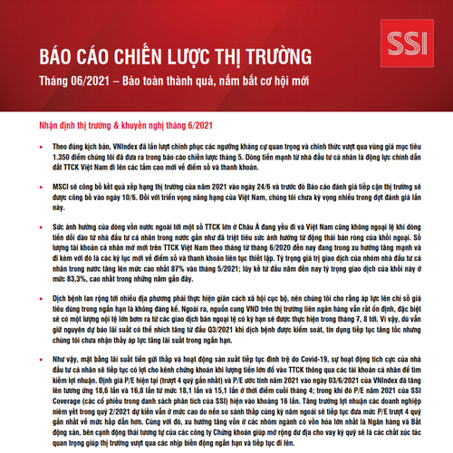 SSI Research: Báo cáo chiến lược thị trường tháng 6 - Bảo toàn thành quả, nắm bắt cơ hội
