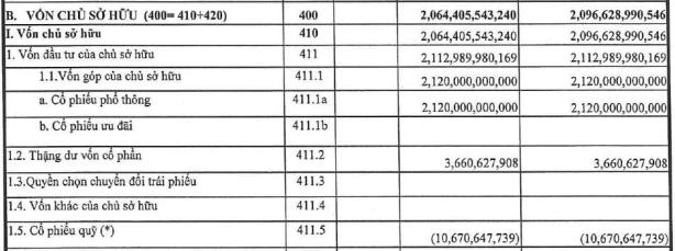 Giá trị cổ phiếu quỹ của Agriseco hơn 10,6 tỷ đồng tại báo cáo tài chính quý I. Nguồn: Agriseco.
