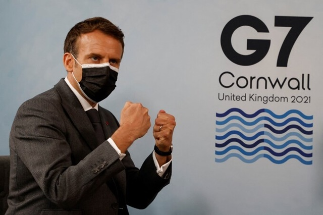 Tổng thống Pháp Emmanuel Macron trong một sự kiện bên lề hội nghị G7. Ảnh: AFP.
